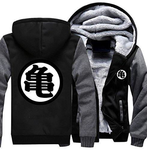 Poetic Walk Anime Dragon Ball Z Son Goku Thicken Jacket Fleece Winter Hoodie (Large, Black&Gray) (Dragon Ball Z Jacket)