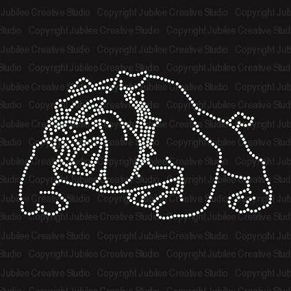 foto de Amazon.com: Bulldog Image Iron On Rhinestone Crystal T-Shirt ...