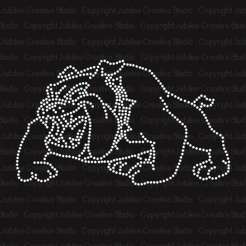 Bulldog Image Iron On Rhinestone Crystal T-Shirt Transfer by JCS Rhinestones