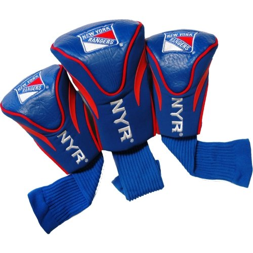 Team Golf NHL New York Rangers Contour Golf Club Headcovers (3 Count), Numbered 1, 3, & X, Fits Oversized Drivers, Utility, Rescue & Fairway Clubs, Velour lined for Extra Club Protection