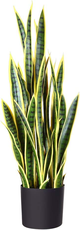"Fopamtri Artificial Snake Plant 39"" Fake Sansevieria, Perfect Faux Plants for Home Garden Office Store Decoration, 32 Leaves (1, Yellow)"