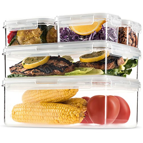 Komax Hikips Premium Tritan Pantry Food Storage Containers. (set of 5) - Airtight, Leakproof With Locking Lids - BPA Free - Microwave, Freezer and Dishwasher Safe