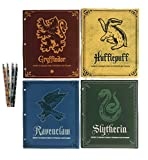 Harry Potter School Supplies Bundle - 4 Folders Representing Four Hogwarts Houses and 4 Pencils (8 pcs)