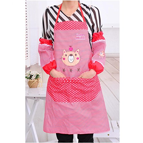 [Iuhan Fashion Womens Kitchen Restaurant Bib Cooking Aprons Pockets Apron (Red)] (1950s Geek Costume)