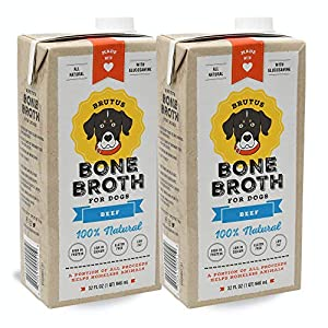 Brutus Bone Broth for Dogs | Beef 2-Pack (64 oz) Made in USA | Glucosamine & Chondroitin for Joints