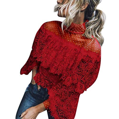 Sttech1 Ladies Lace Polka Dot Top Sexy Flare Sleeve Printed Point Blouse ()