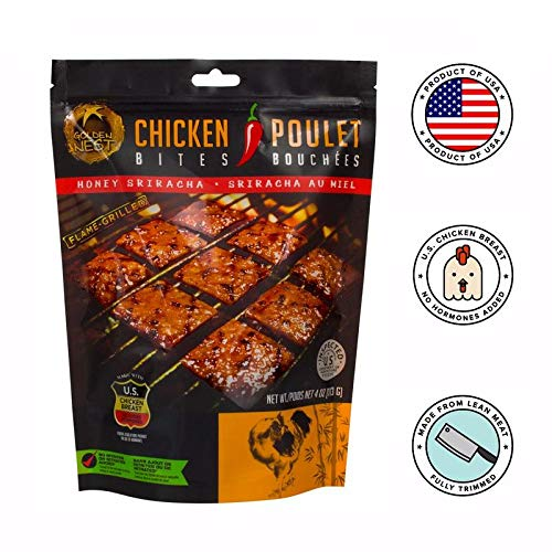 Golden Nest Chicken Jerky Bites, Gluten Free, Healthy Homemade Style BBQ Meat From Gourmet USA Chicken, Award Winning Premium Jerky, 4 Ounces (Honey Sriracha)