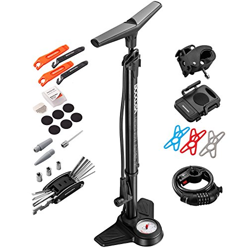 BOOCOSA Bike Floor Pump Set 10 in 1 with ACCURATE Pressure Gauge to 200PSI Includes Screwdrivers – Tire Levers – Glueless Patches- Bicycle Pump Head Presta and Schrader Valves- Phone Holder – DiZiSports Store