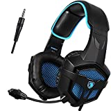 xbox 360 wired headset - SADES SA807 3.5mm Wired Multi-Platform Stero Sound Gaming Headset Over Ear Gaming Headphones with Mic Volume control for New Xbox one/PS4/PC/Laptop/Mac/iPad/iPod (Black&Blue)