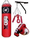 MADX 5 Piece 4ft Boxing Set Filled Heavy Punch Bag Gloves,Chain,Bracket,Kickbag