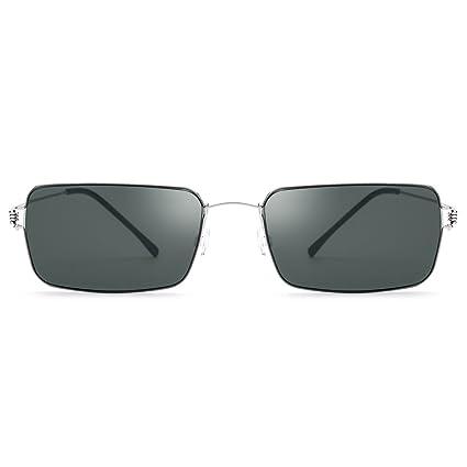 Jiuyizhe Gafas de Sol polarizadas ultraligeras de aleación de Titanio Cuadrados Hombres creativos (Color :