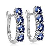 2.0 Carat Weight - Tanzanite Oval Shaped Hinged Hoop Earrings in Sterling Silver