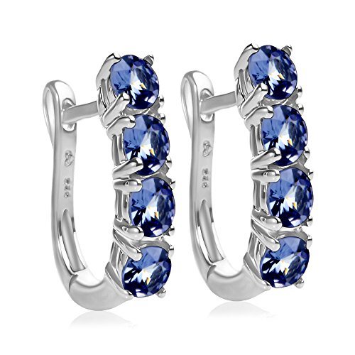 2.0 Carat Weight - Tanzanite Oval Shaped Hinged Hoop Earrings in Sterling Silver by Something For Me