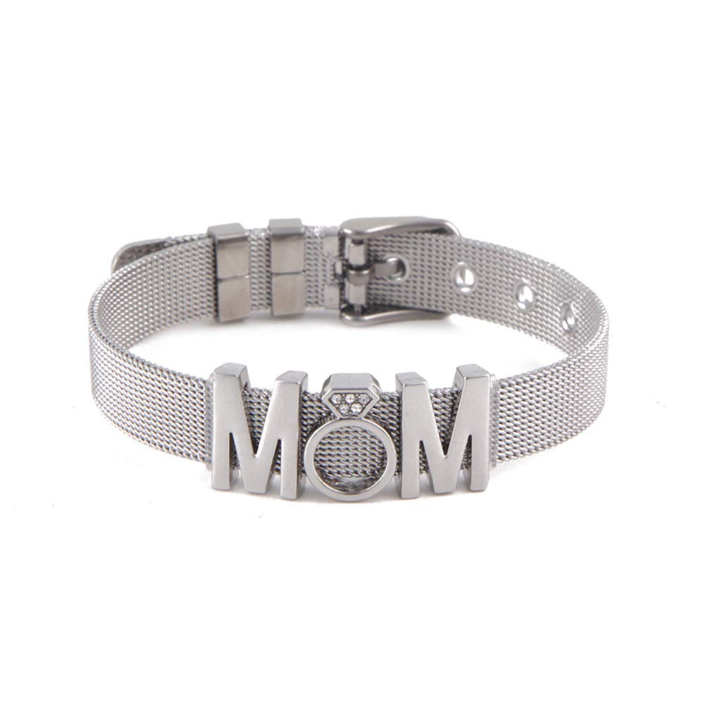 Glinkin Keeper Stainless Steel Mesh Bracelet MOM Slide Charms Bangle