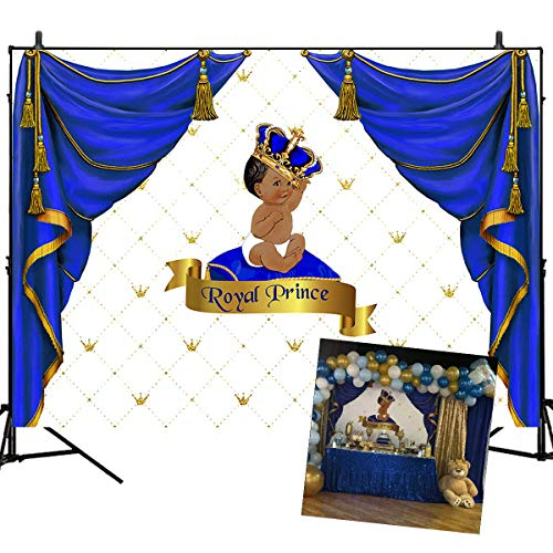 Mehofoto Baby Shower Backdrops Royal Prince Background Blue Curtain Decorated Baby Birthday Party Banner Decoration 7×5ft Vinyl Newborn Baby Photography Props -