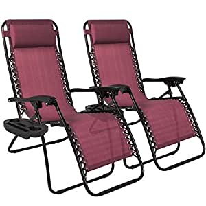 2PCS Burgundy Zero Gravity Recliner Lounge Chair Cup Tray Holder Foldable Design Patio Outdoor Garden Backyard Camping Picnic Pool Beach Décor Furniture UV-Resistant Removable Adjustable Headrests