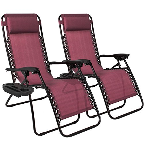 2Pcs Burgundy Zero Gravity Recliner Lounge Chair Cup Tray Holder Foldable Design Patio Outdoor Garden Backyard Camping Picnic Pool Beach D Cor Furniture Uv Resistant Removable Adjustable Headrests