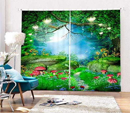 - FidgetFidget Scenic 3D Blockout Drapes Fabric Printing Window Curtains Mural 2Panel 80X63(203X160CM) Mushroom Tree Scene #193