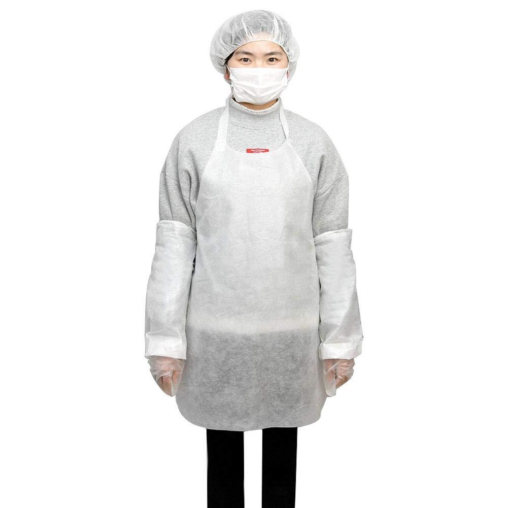 Disposable Apron Suit Set,10 Pack Adult Disposable Waterproof Dust-Proof Suit White Plastic Apron,Sleeve,Gloves,Mask,Hair Cap