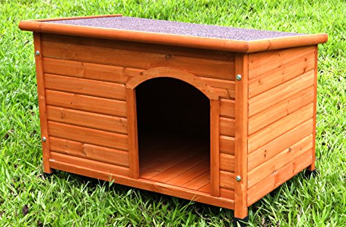 Captain Pet Waterproof Solid Cedar Dog House Porcelain Wooden Pet Kennel