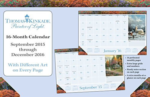 Thomas Kinkade Painter of Light 2015-2016 16-Month Desk Pad Calendar: September 2015 through December 2016