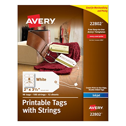 Avery Printable Tags with Strings for Inkjet Printers, 2 x