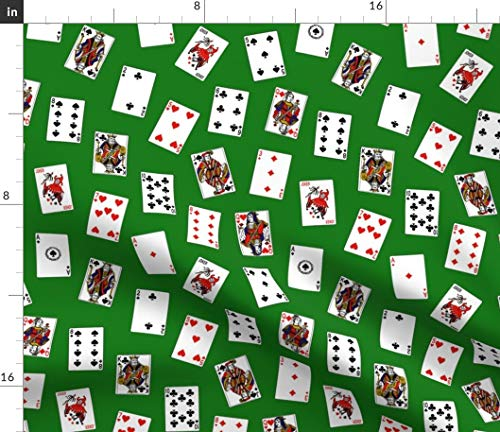Spoonflower Playing Cards Fabric - Card Green Deck Gamble Magic of Game Poker Casino Vegas Thin Line Textiles Print on Fabric by The Yard - Chiffon for Sewing Fashion Apparel Dresses Home Decor