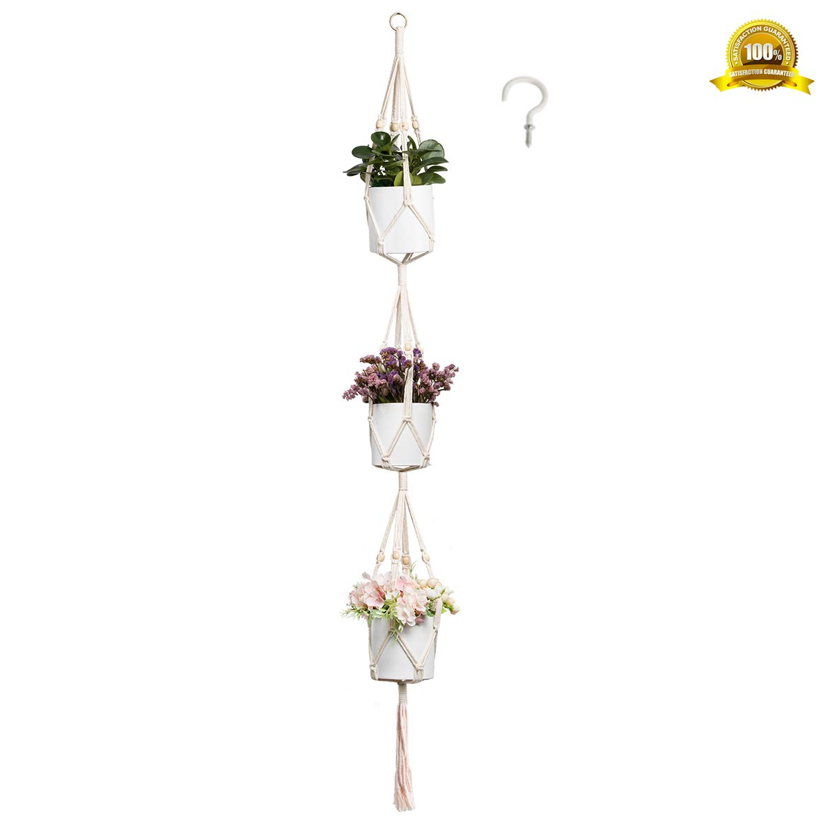 ENUOSUMA 3 Tier Plant Hanger, Indoor Outdoor Macrame Hanging Planter Flowers Pot Holder for Plants Decorations – Cotton Rope, 4 Legs, 71 Inch Bonus 1 PC Hook