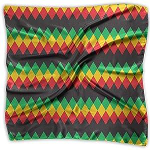 Ladies Vintage Rasta Rastafarian Colors Pattern Print Square Handkerchiefs Bandanas Head & Neck Tie Scarf