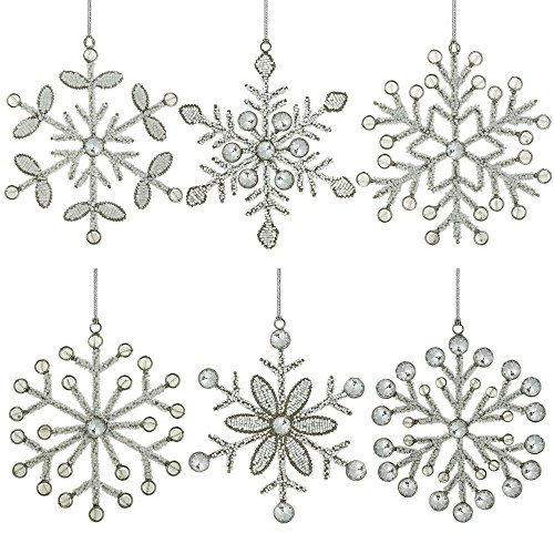 Snowflake Glass Christmas Ornaments - Set of 6 Handmade Snowflake Iron and Glass Pendant Christmas Ornaments, 6 Inches