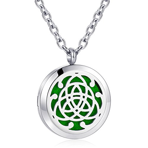 Celtic Cross Diffuser Necklace Aromatherapy Essential Oil Necklace Stainless Steel Locket Pendant Jewelry for Women Girls Boys Kids Christmas Gift