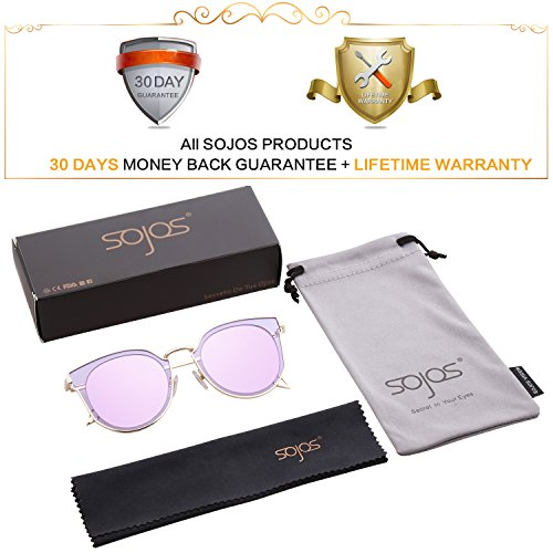 1ee4eac094fd SOJOS Fashion Polarized Sunglasses for Women UV400 Mirrored Lens SJ1057  with Gold Frame Purple Mirrored