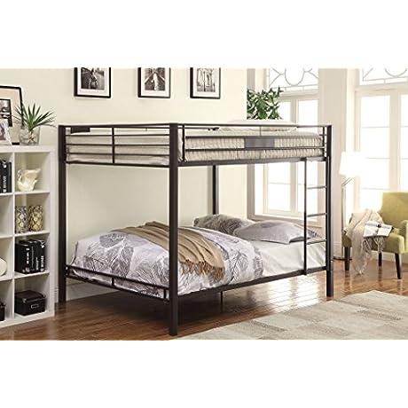ACME Kaleb Sandy Black Queen Over Queen Bunk Bed
