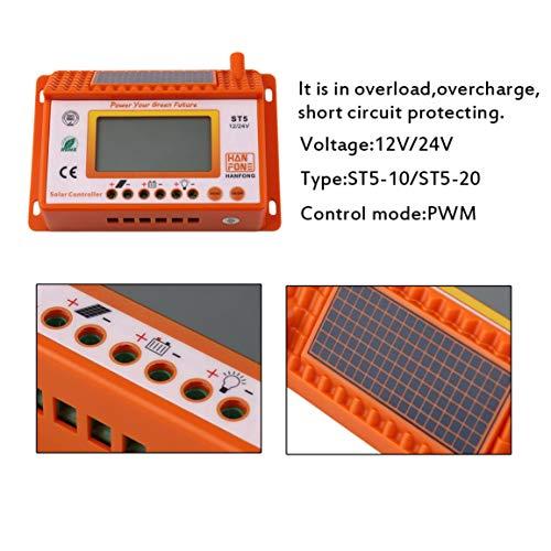 ST5-10 / ST5-20 Großbild-Digitalanzeige Solarladeregler 12V / 24V LED-Anzeige für automatische Konvertierung