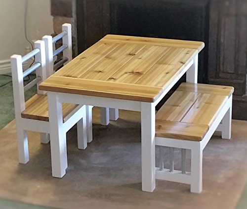 Kids Farmhouse Table Set, Activity Table, White Bases with Natural Cedar Colored Tops