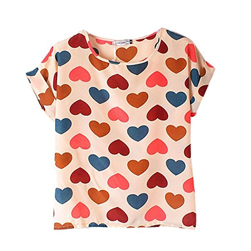 Fille Printed mousseline Love en souris pour soie shirt ample Blanc White Tops manches d't longues chauve de ROPaLIA Multicolors femme U0qAx10
