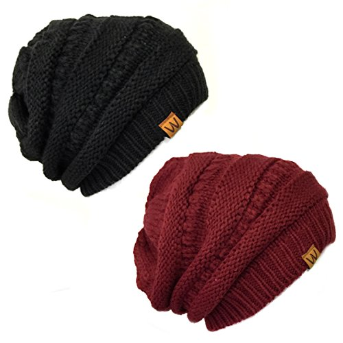 AllyDrew Thick Knit Slouchy Beanie (Set of 2), Black and Burgundy