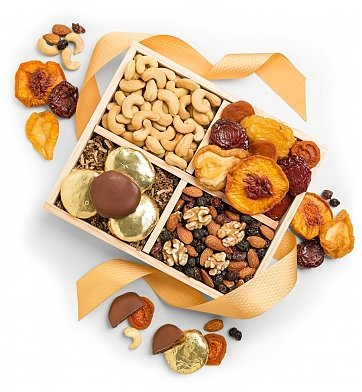 GiftTree Nuts and Fruit Harvest Crate | An Enduring Crate Features Dried Stone Fruits, Fresh Jumbo Cashews, Chocolate Dipped Apricots and More | Sweet Gift and Holiday Classic