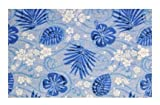 Trade Winds Tropical Floral Indigo Blue - 2'x3' Custom Stainmaster Premium Nylon Carpet Area Rug ~ Bound Finished Edges