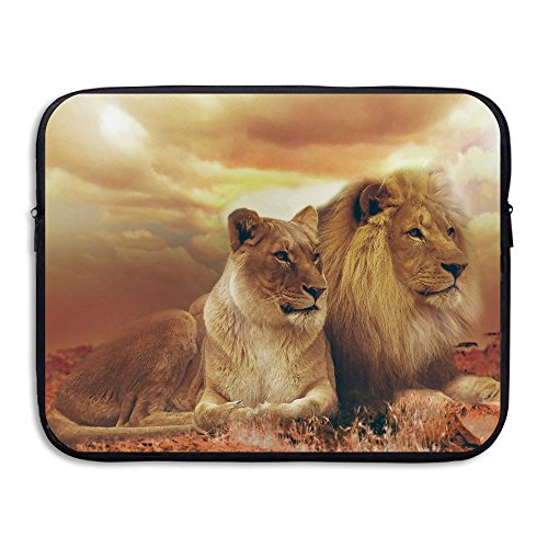 Business Briefcase Laptop Sleeve Femle Male Lions Case Cover Handbag For 15 Inch Macbook Air/Asus/Dell/Lenovo/Hp/Samsung/ (Laptop Case Lion)