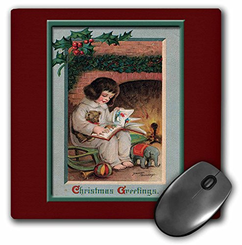 (3dRose BLN Vintage Christmas Designs - Christmas Greeting Little Girl Reading a Book in front of a Fireplace trimmed With Holly and Berries - MousePad (mp_153518_1))