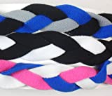 3 PACK! Extreme Sports Braided Mini NON SLIP Sports Headband (Royal Black Gray-Black White-Royal White Pink)