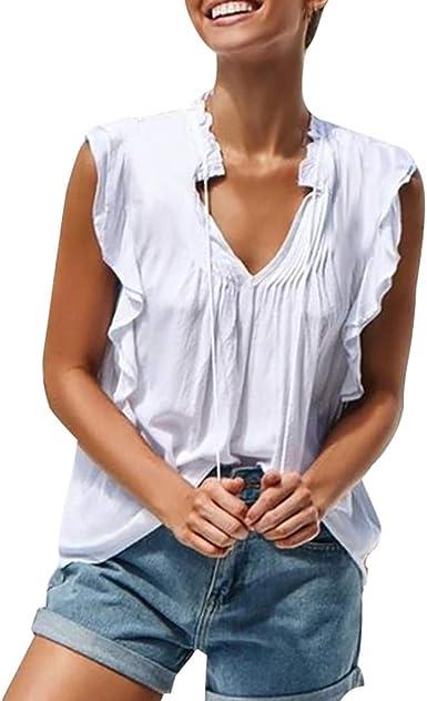 Qingsiy Tops Camisetas De Encaja Sin Respaldo Sin Manga Casual Moda Mujer Camisetas De Playa Mujer Verano Blusa Mujer Sport Tops Mujer Verano Camisetas Mujer Fiesta Camisetas: Amazon.es: Ropa y accesorios