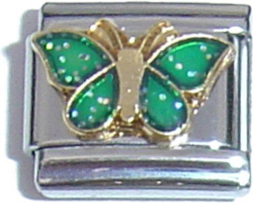 Green Butterfly Italian Charm