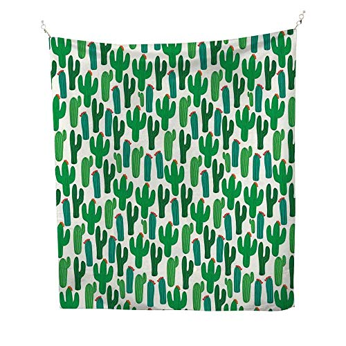 Exoticoutdoor tapestryVibrant San Pedro Cactus Foliage Climate Desert Flourishing Mexican Plants 70W x 84L inch Ceiling tapestryForest Green Red (Best San Pedro Cactus)
