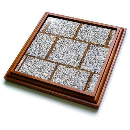 (3dRose Alexis Photography - Texture Stone - Image of three rows of polished granite stone blocks of grey color - 8x8 Trivet with 6x6 ceramic tile (trv_285821_1))
