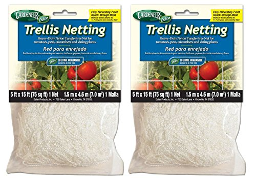 Gardeneer By Dalen Trellis Netting Heavy-Duty Nylon Tangle-Free Net 5' x 15'  - Pack of 2