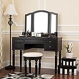 corner makeup vanity furniture Fineboard Dressing Set with Stool Beauty Station Makeup Table Three Mirror Vanity Set, 5 Organization Drawers, Black