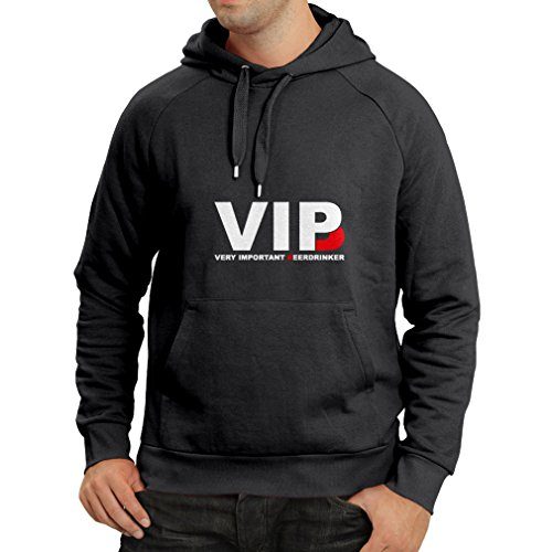 Hoodie Very Important Beer Drinker - Alcohol Drunk Geeky Nerdy Funny Drinking Quotes - Humorous Gift Ideas, Party Clothes (Medium Black White)