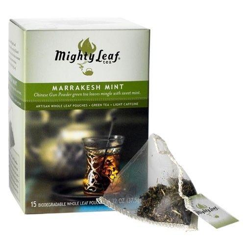 Mighty Leaf Marrakech Thé à la menthe, 15 feuilles entières Pochettes, 1,32 Oz.